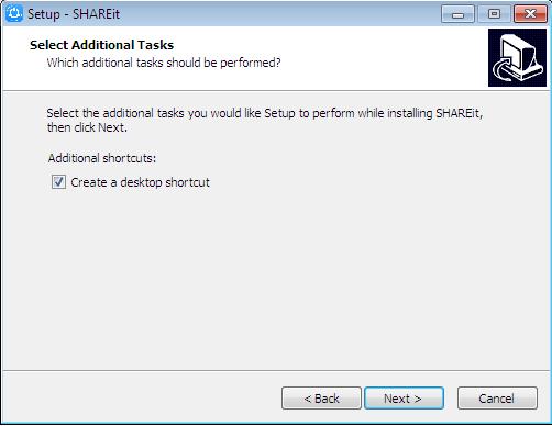 create a desktop shortcut shareit