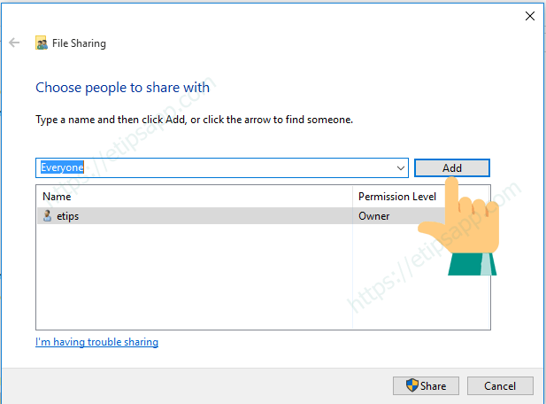 add everyone share windows 7810