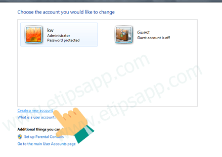 buttom Create new account windows 7
