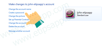 create a passord account windows 7