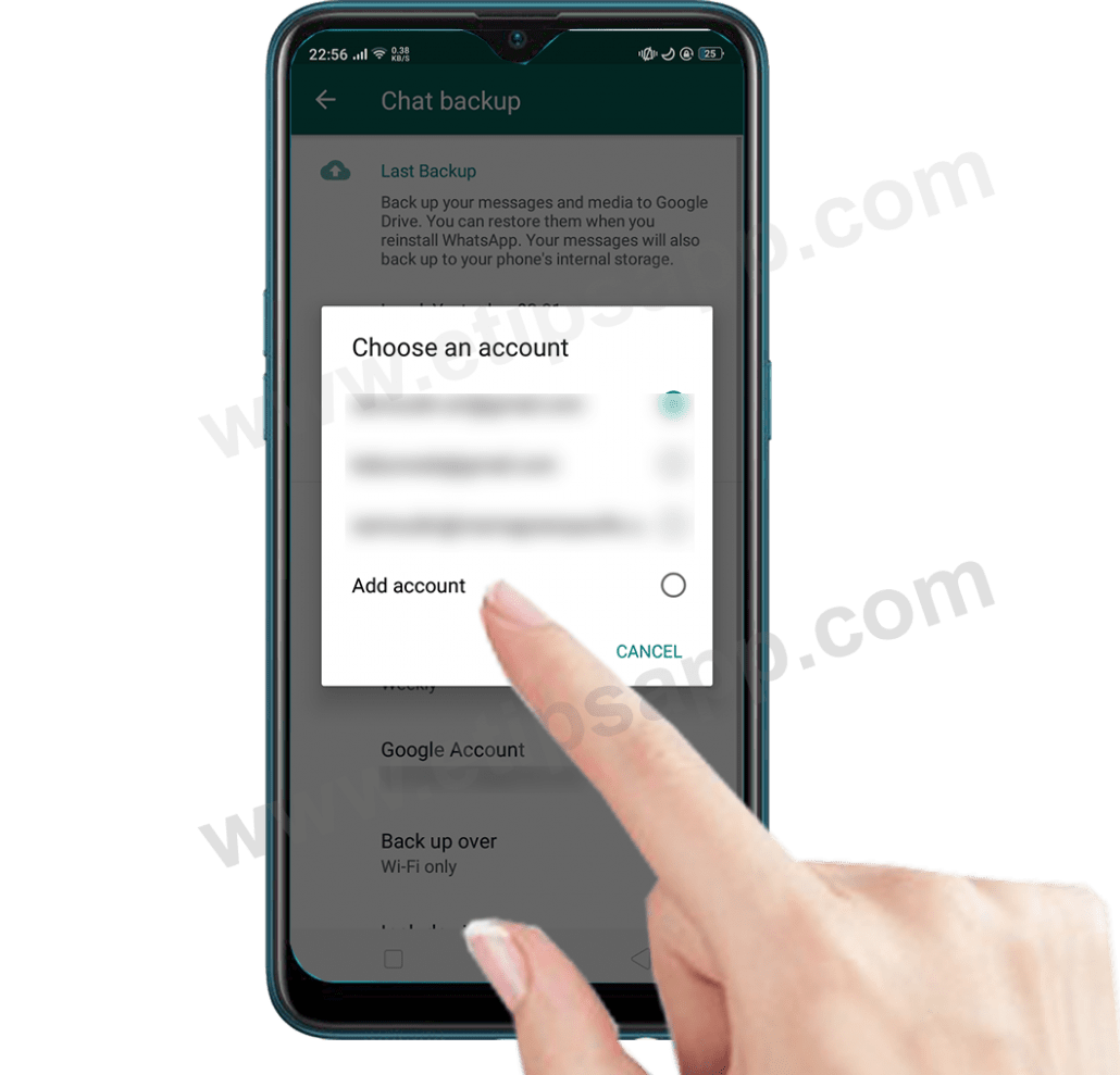 add account google drive in whatsapp
