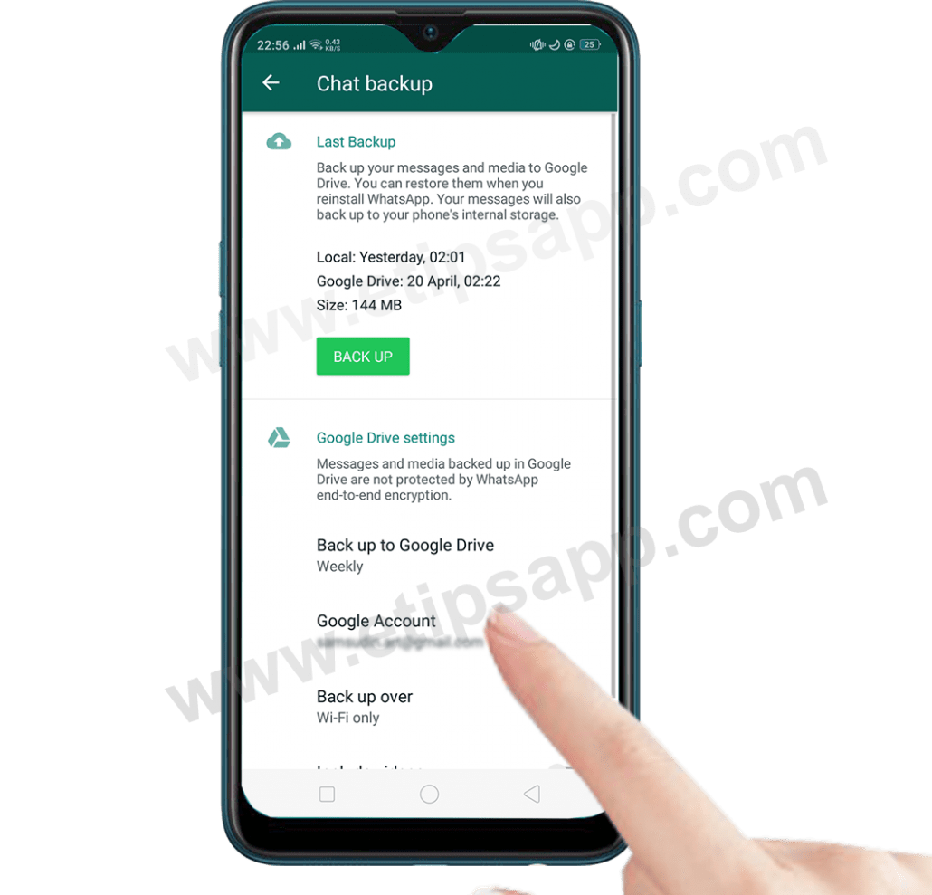 add google drive account chat backup whatsapp