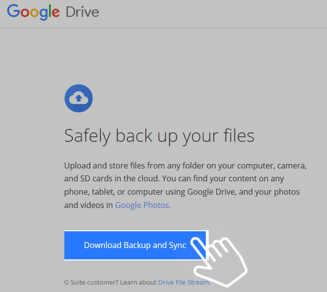 Download backup and sync google drive