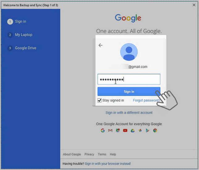 Sing in backup and Sync Google drive