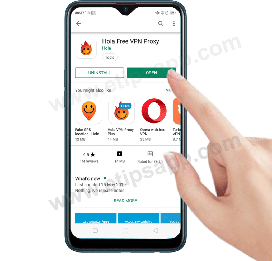 open hola android app