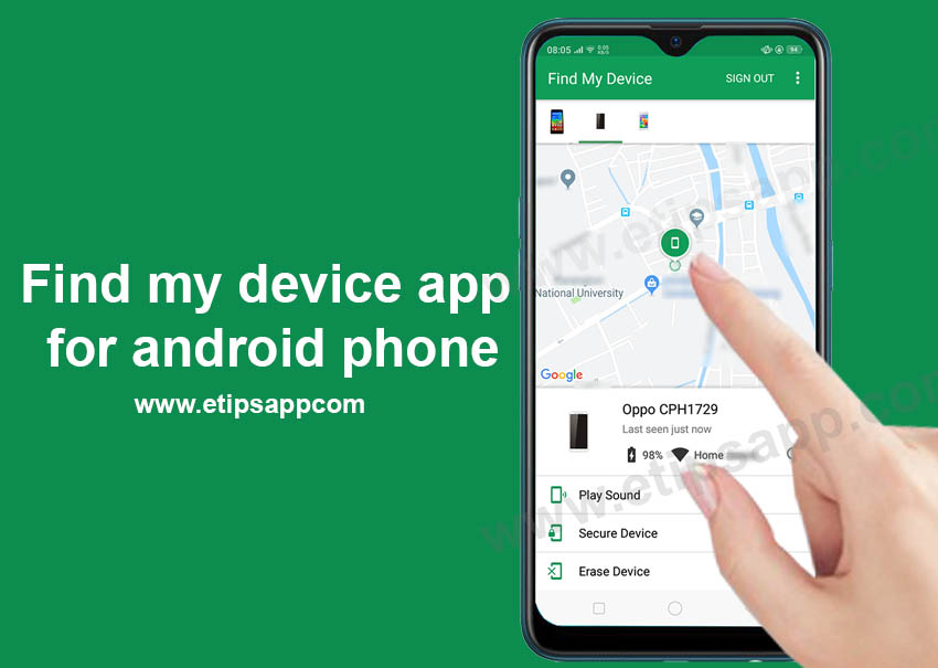 Find my device app for android phone