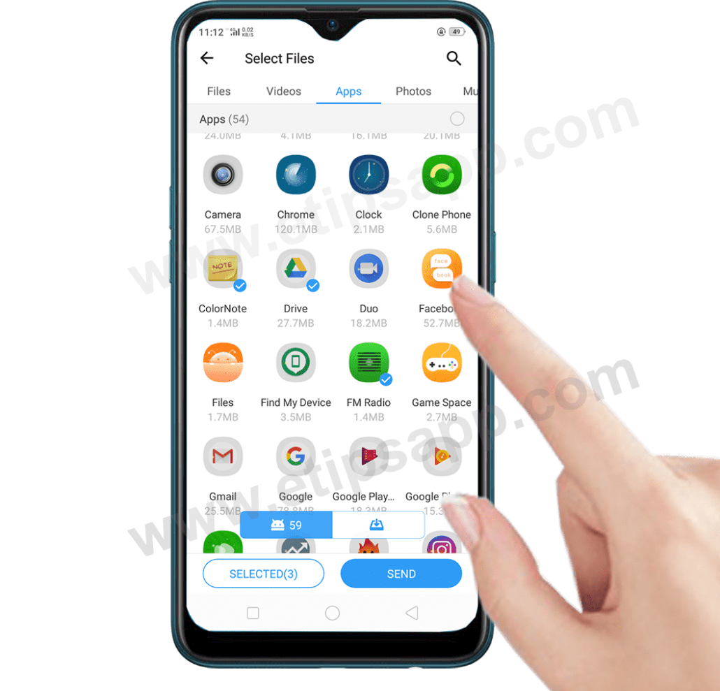 send apps to new android phone