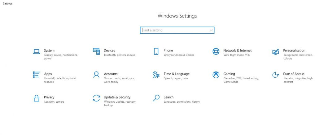 MENU Windows settings wifi