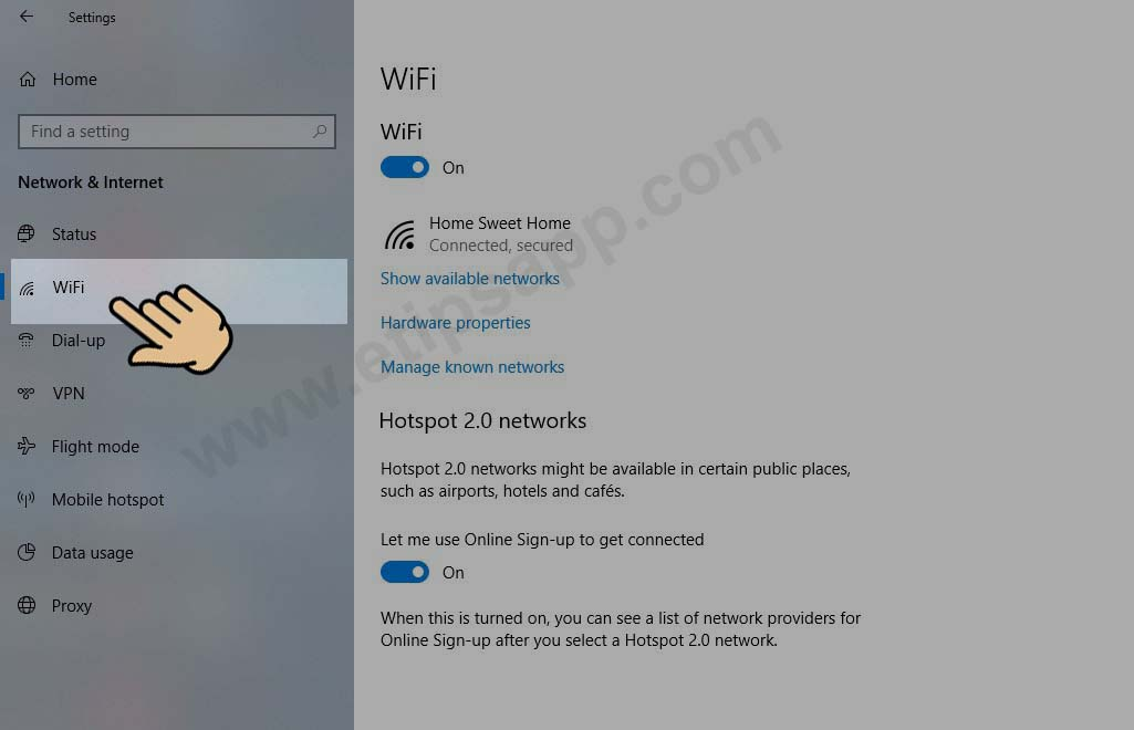 setting wifi windows 10