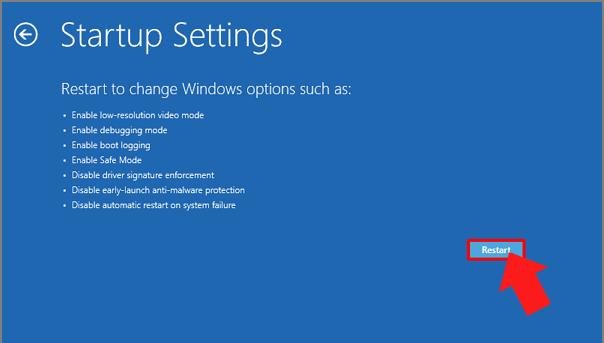 restart to change windows options