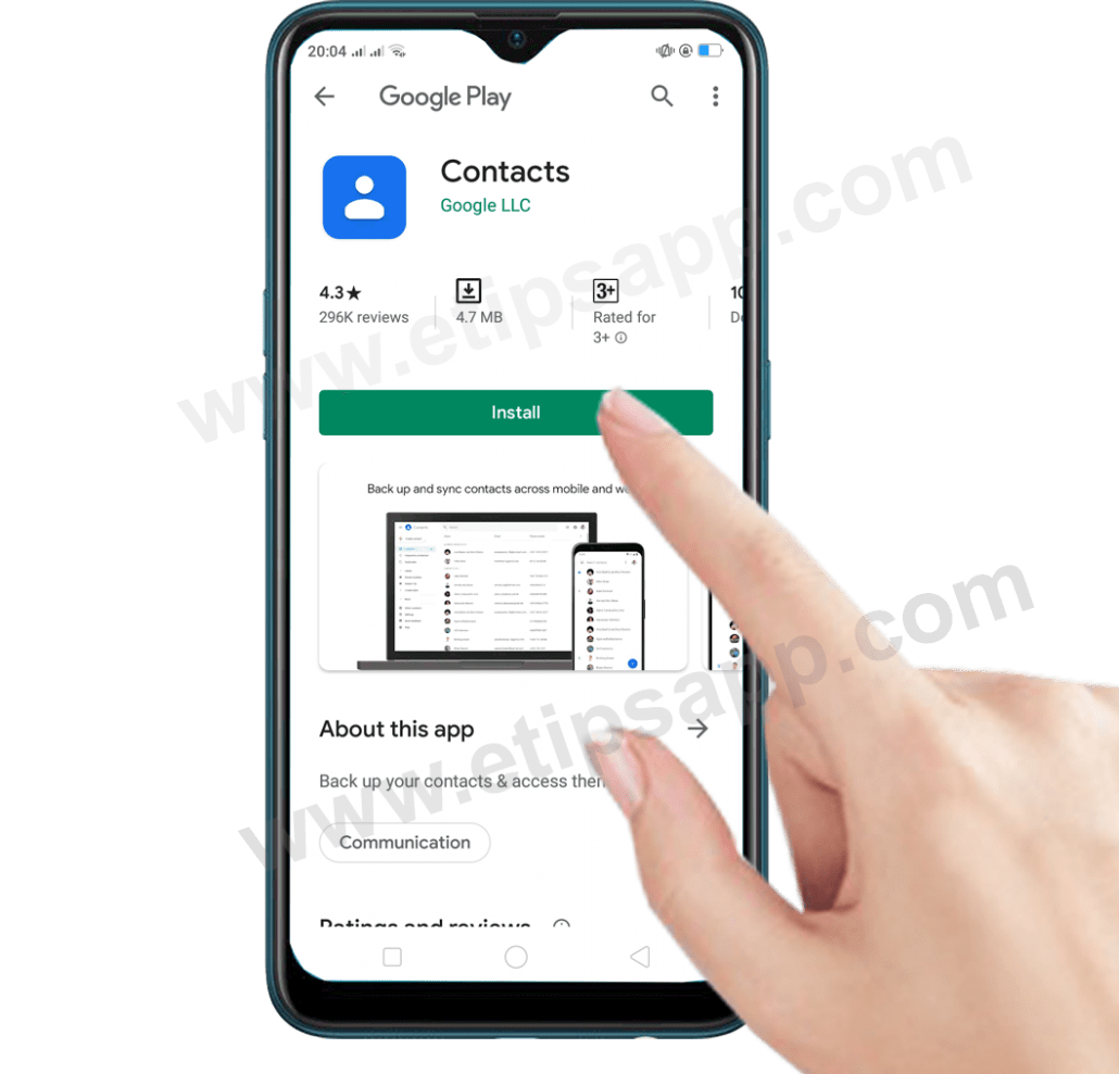 Download Google Contacts on android phone