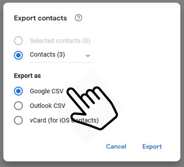 Export contacts google csv