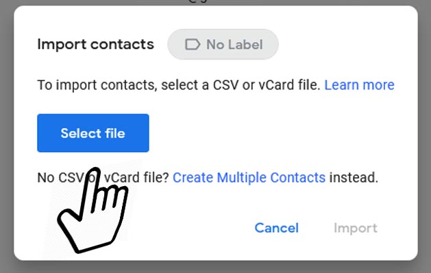 select fie csv or card google contacts