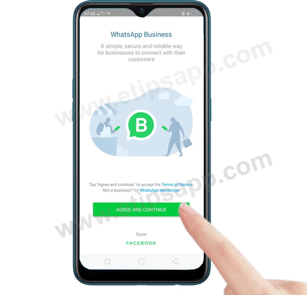 AGGRE AND CONTINUEW install WhatsApp Business on android
