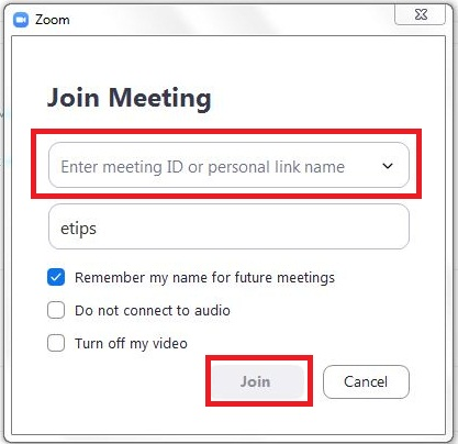 How to enter meeting ID or personal link name Zoom Cloud meettings APP
