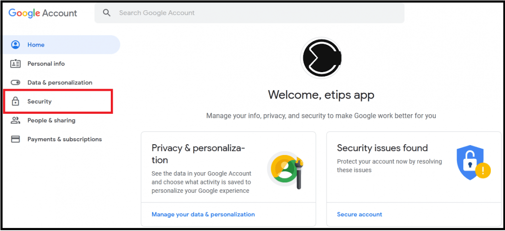 How to set Security Google Account