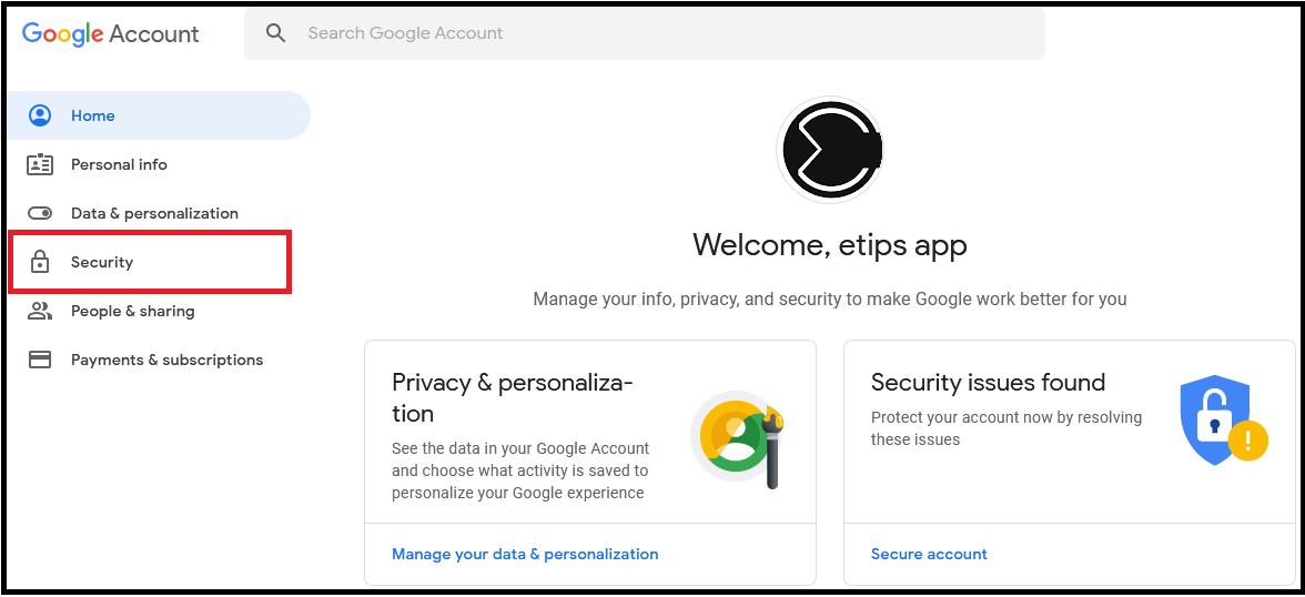 How to set Security verify Google Account
