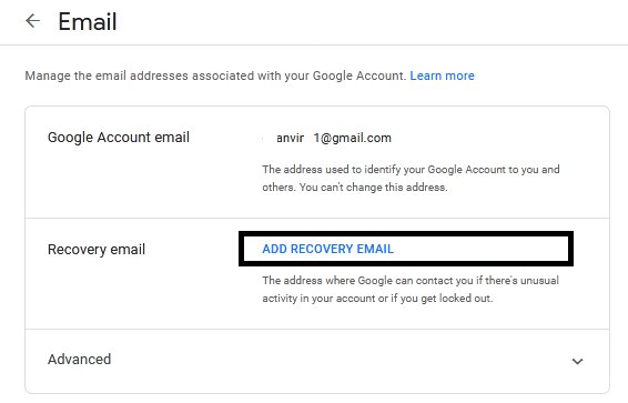 Recovery email menu google account