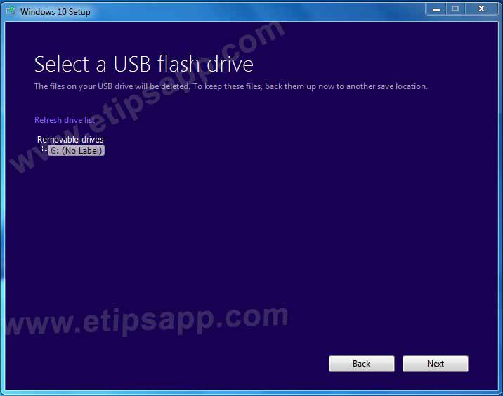 Select a usb flash drive windows 10 media creation tool