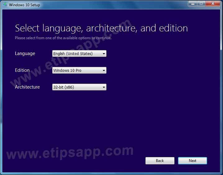 Select language architecture and edition media creation tool new