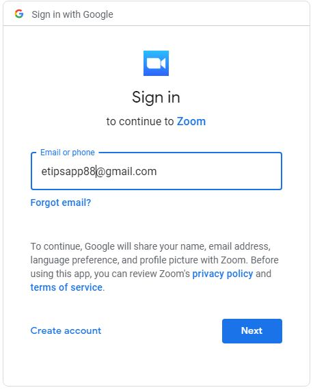 Sing Up Zoom with Google account