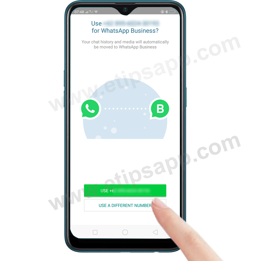 Use A Different Number WhatsApp Business