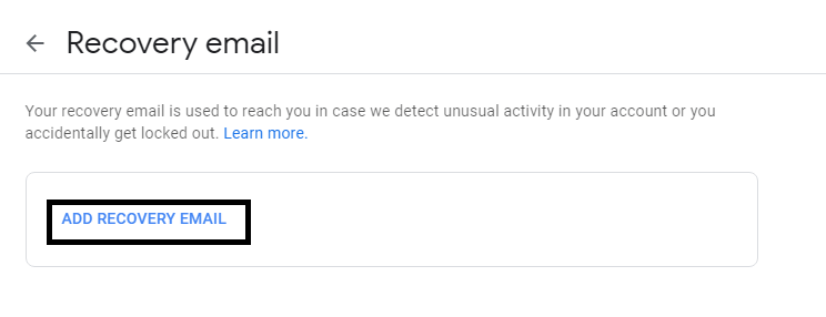 how to add Recovery email gmail
