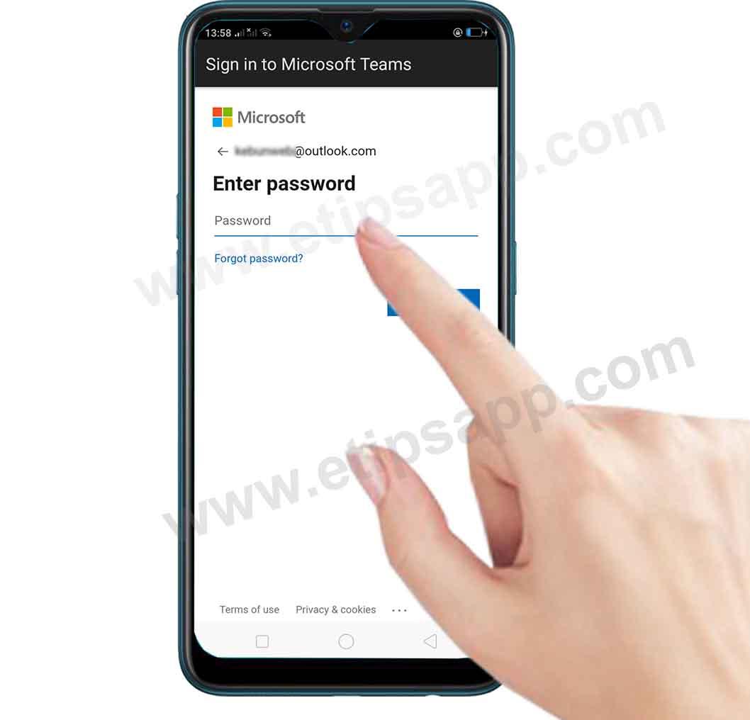 Enter password microsoft Teams