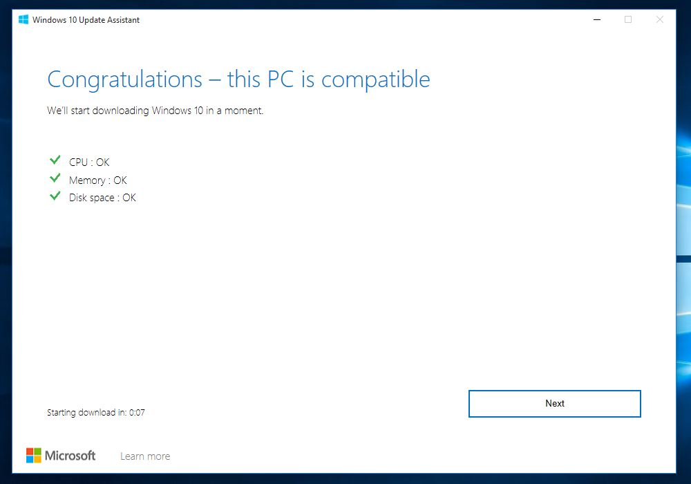 window assistant will check your compatible PC
