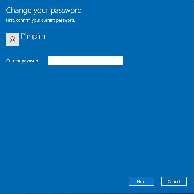 Current password Windows 10