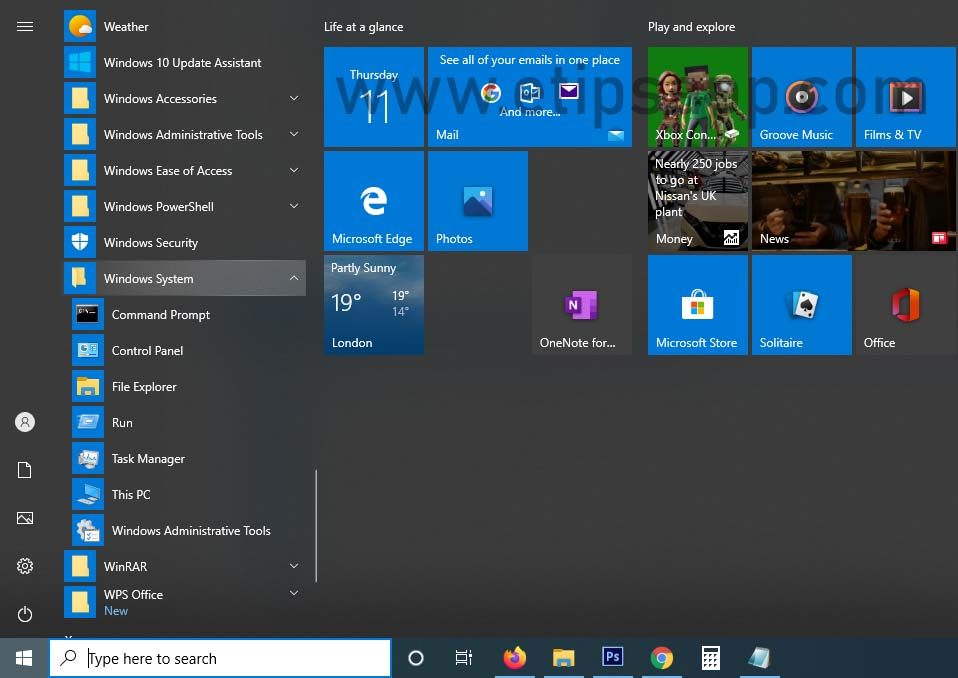Find Control Panel from Start menu All Apps