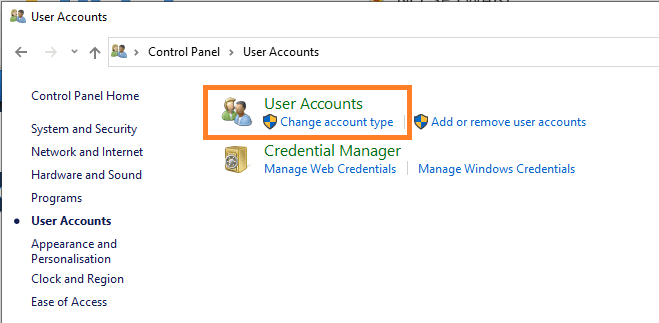 How to open Control Panel user Accounts Windows 10 again
