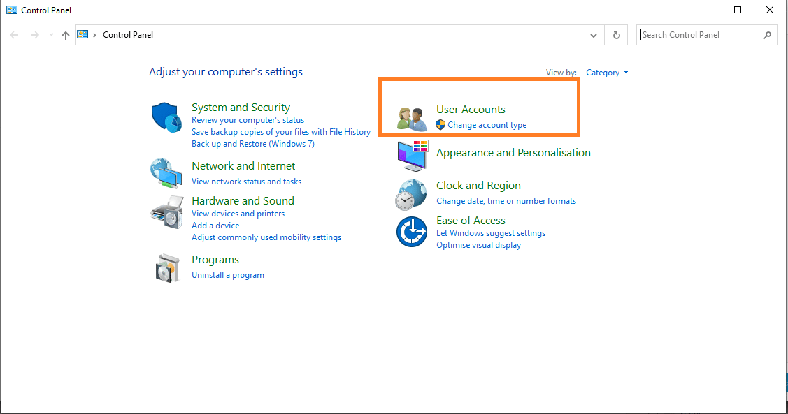 How to open Control Panel user Accounts Windows 10