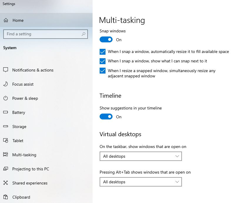 Multi-tasking Windows 10