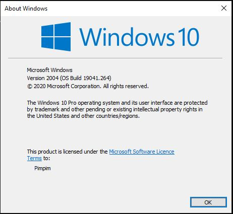 about Windows 10 version 2004 OS build 19041