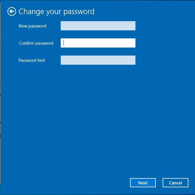change password windows 10 edit