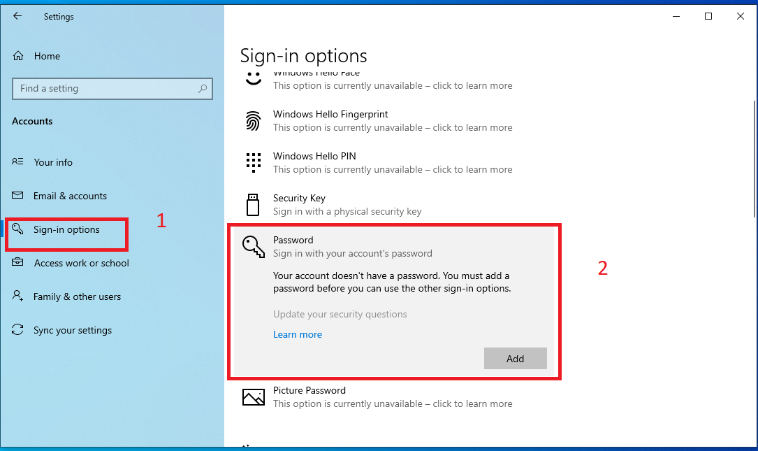 how to add PASSWORD in Windows 10