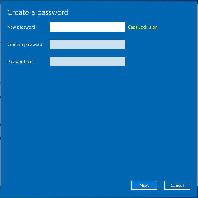 how to create PASSWORD in Windows 10
