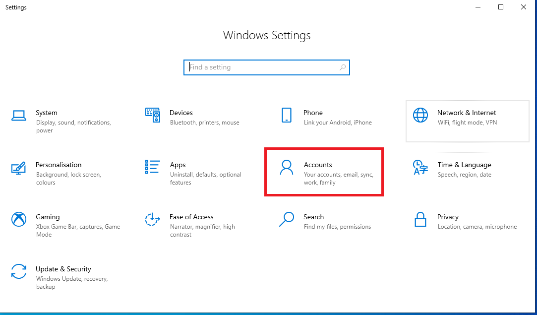 how to use setting Accounts Windows 10