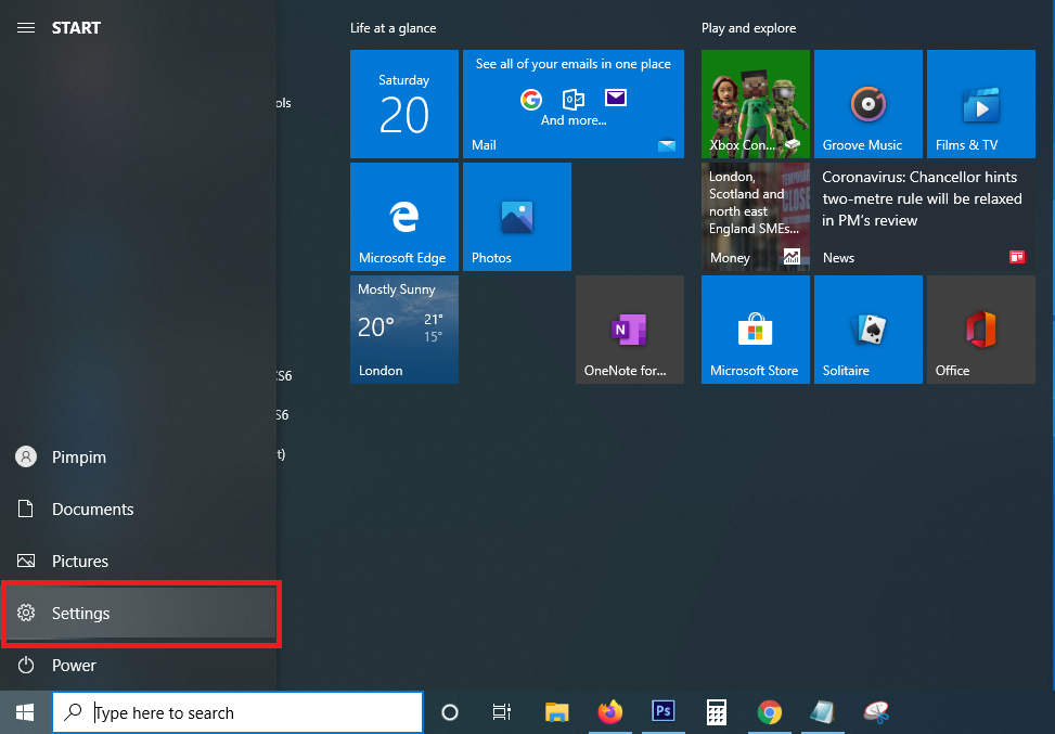how to use setting Menu Windows 10
