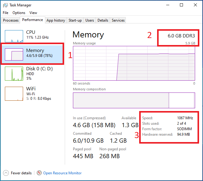 speed Ram windows 10 task manager