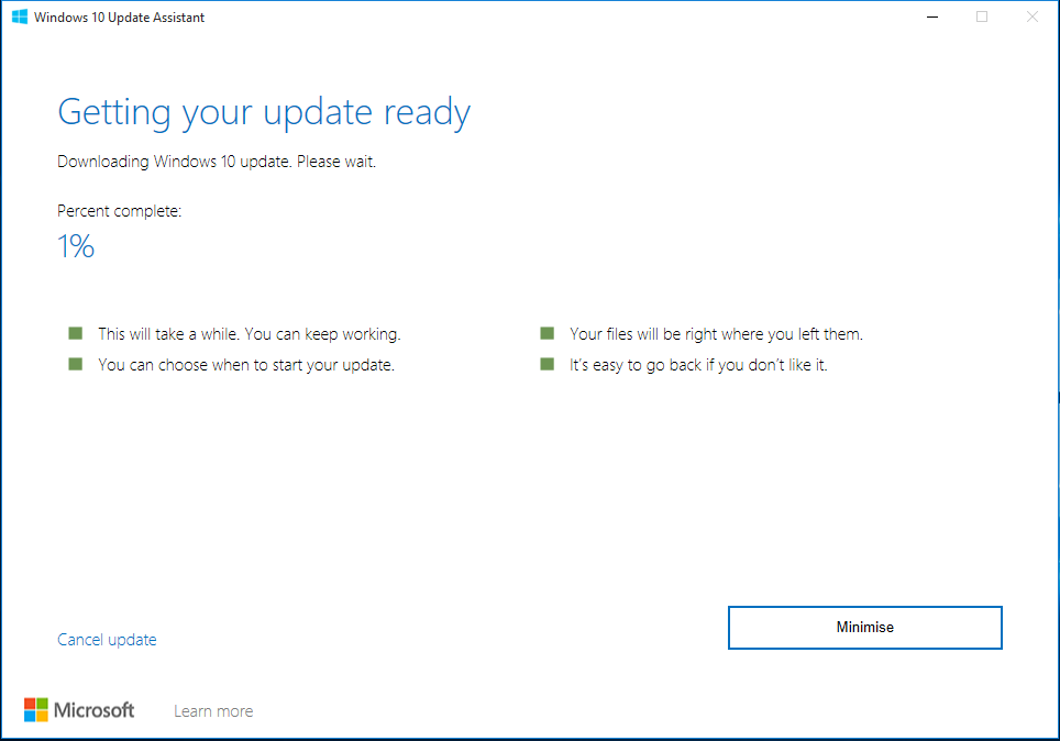 getting your update ready windows 10 update assistant