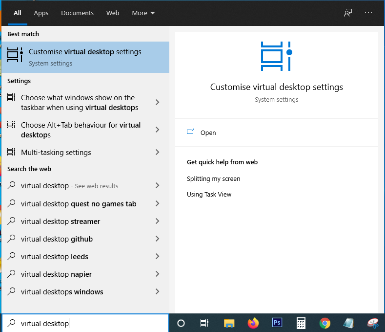 virtual desktop settings Windows 10
