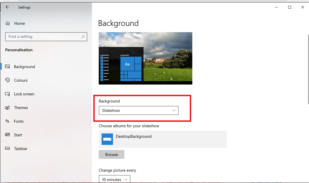 Background settings WINDOWS 10