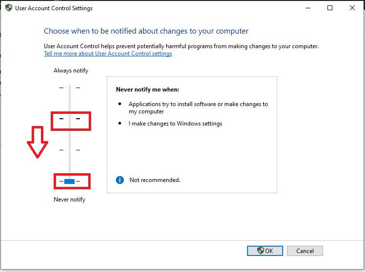 Change Use Account Control Settings Never notify Windows 10