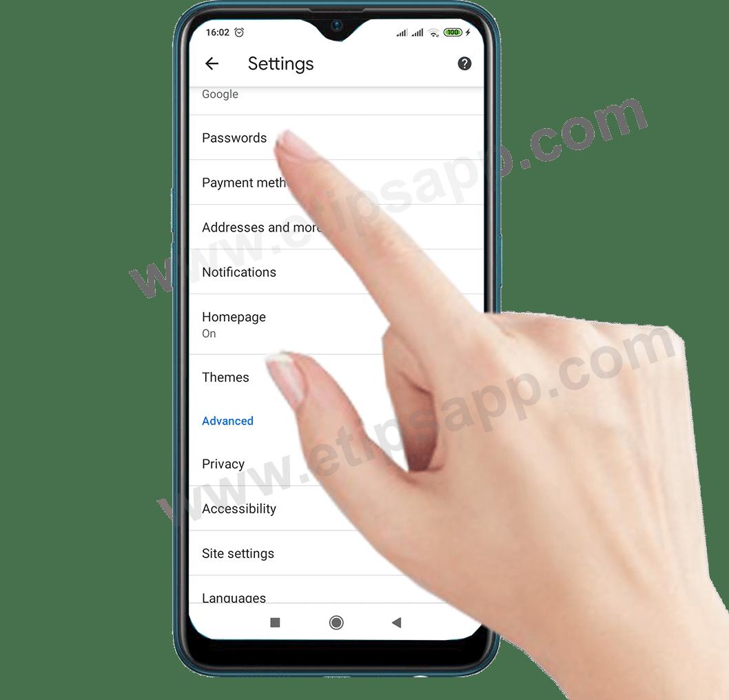 Chrome Passwords Menu android