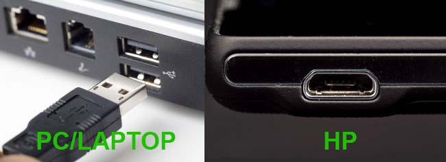 Connect USB-PORt-LAPTOP to phone
