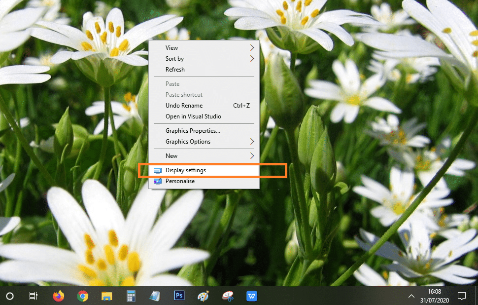 Display setting windows 10