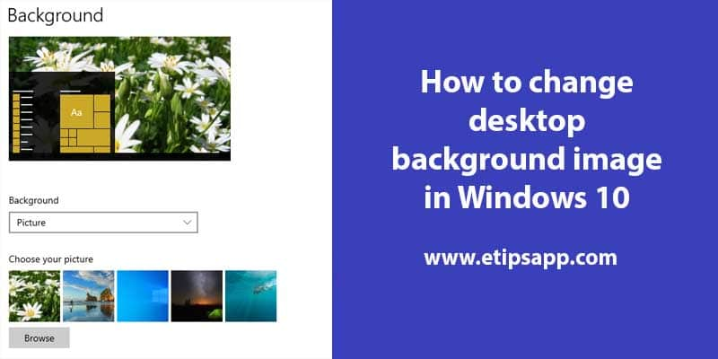 How to change desktop background image in Windows 10