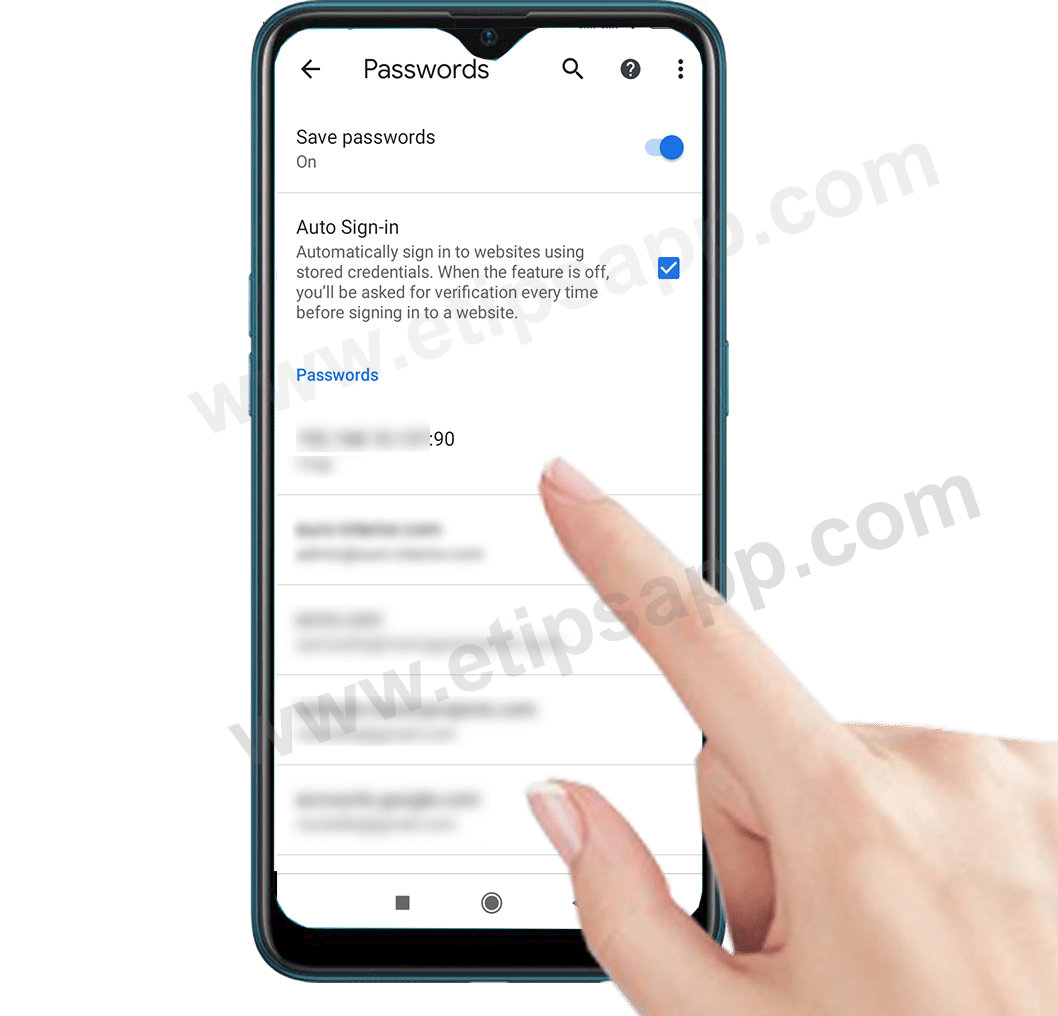 Saved Password Chrome android